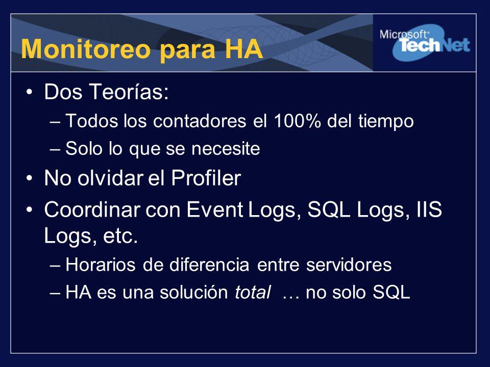 Monitoreo para HA Dos Teorías: –Todos los contadores el 100% del tiempo –Solo lo que se necesite No olvidar el Profiler Coordinar con Event Logs, SQL