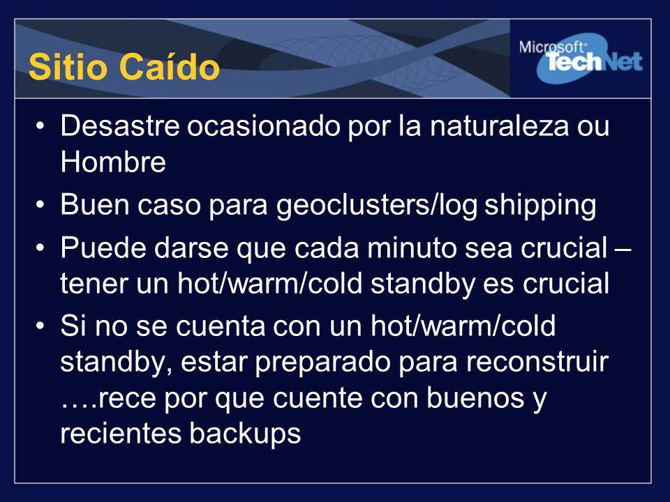 Desastre ocasionado por la naturaleza ou Hombre Buen caso para geoclusters/log shipping Puede darse que cada minuto sea crucial – tener un hot/warm/co