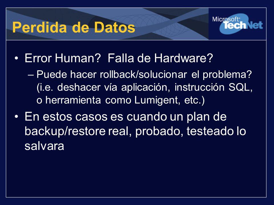 Perdida de Datos Error Human? Falla de Hardware? –Puede hacer rollback/solucionar el problema? (i.e. deshacer vía aplicación, instrucción SQL, o herra