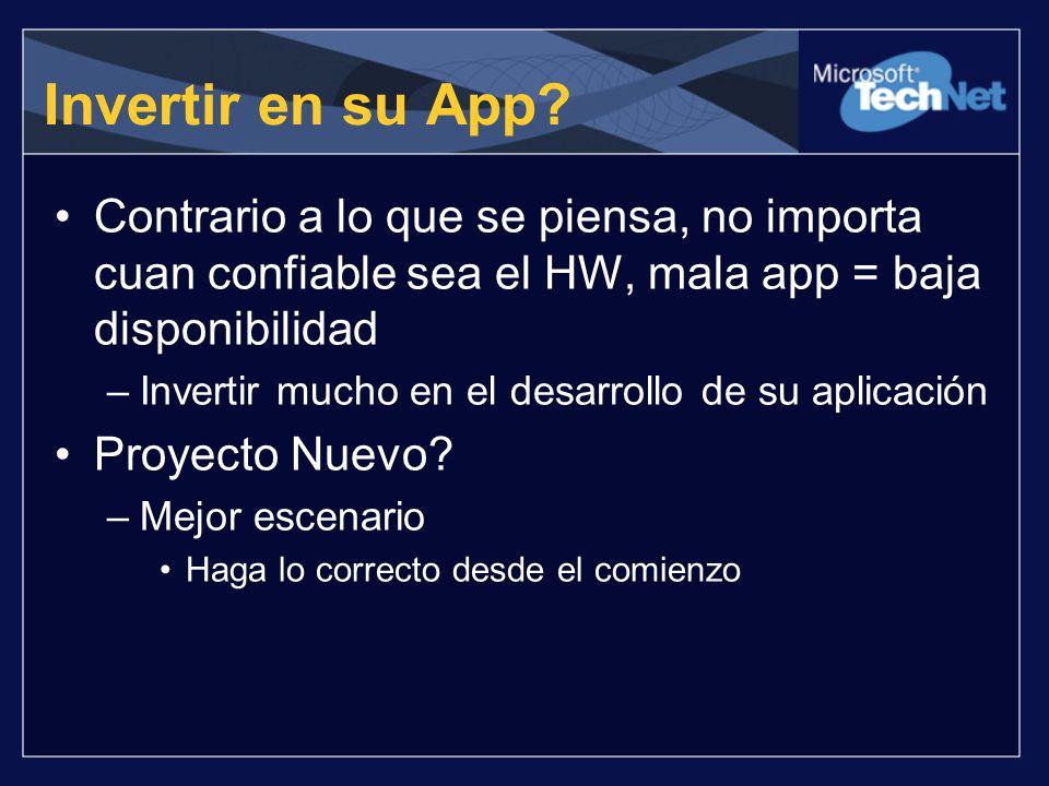 Invertir en su App? Contrario a lo que se piensa, no importa cuan confiable sea el HW, mala app = baja disponibilidad –Invertir mucho en el desarrollo