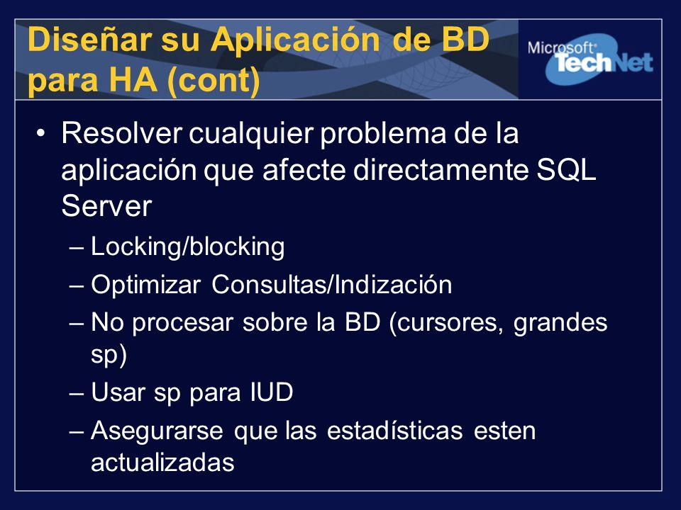 Resolver cualquier problema de la aplicación que afecte directamente SQL Server –Locking/blocking –Optimizar Consultas/Indización –No procesar sobre l