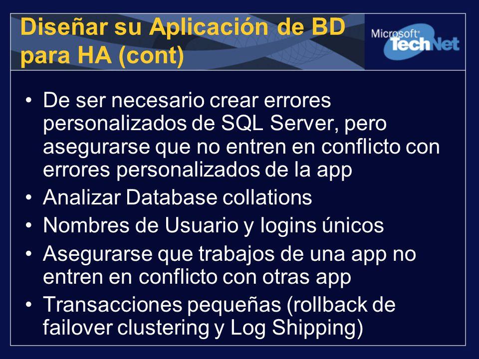Diseñar su Aplicación de BD para HA (cont) De ser necesario crear errores personalizados de SQL Server, pero asegurarse que no entren en conflicto con