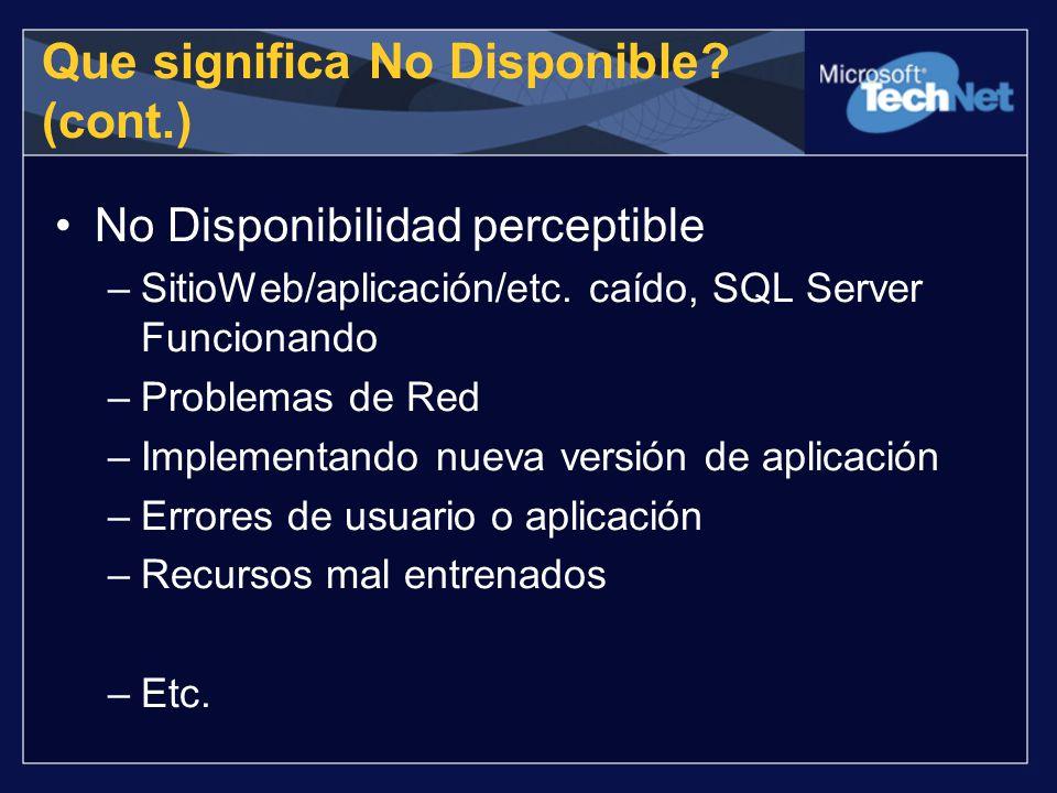 Que significa No Disponible? (cont.) No Disponibilidad perceptible –SitioWeb/aplicación/etc. caído, SQL Server Funcionando –Problemas de Red –Implemen