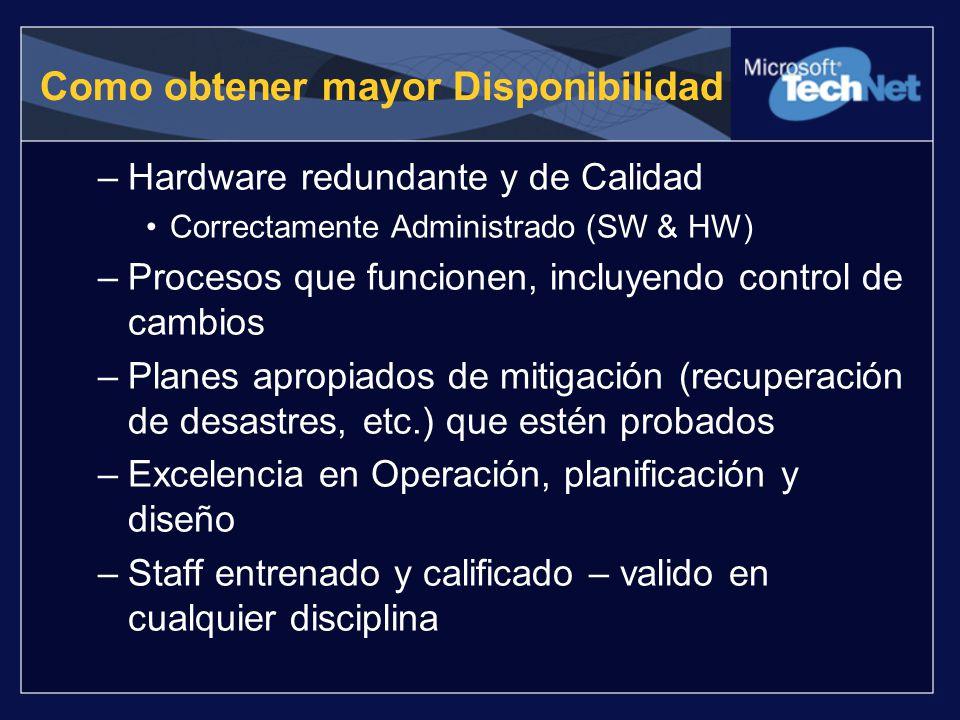 Como obtener mayor Disponibilidad –Hardware redundante y de Calidad Correctamente Administrado (SW & HW) –Procesos que funcionen, incluyendo control d