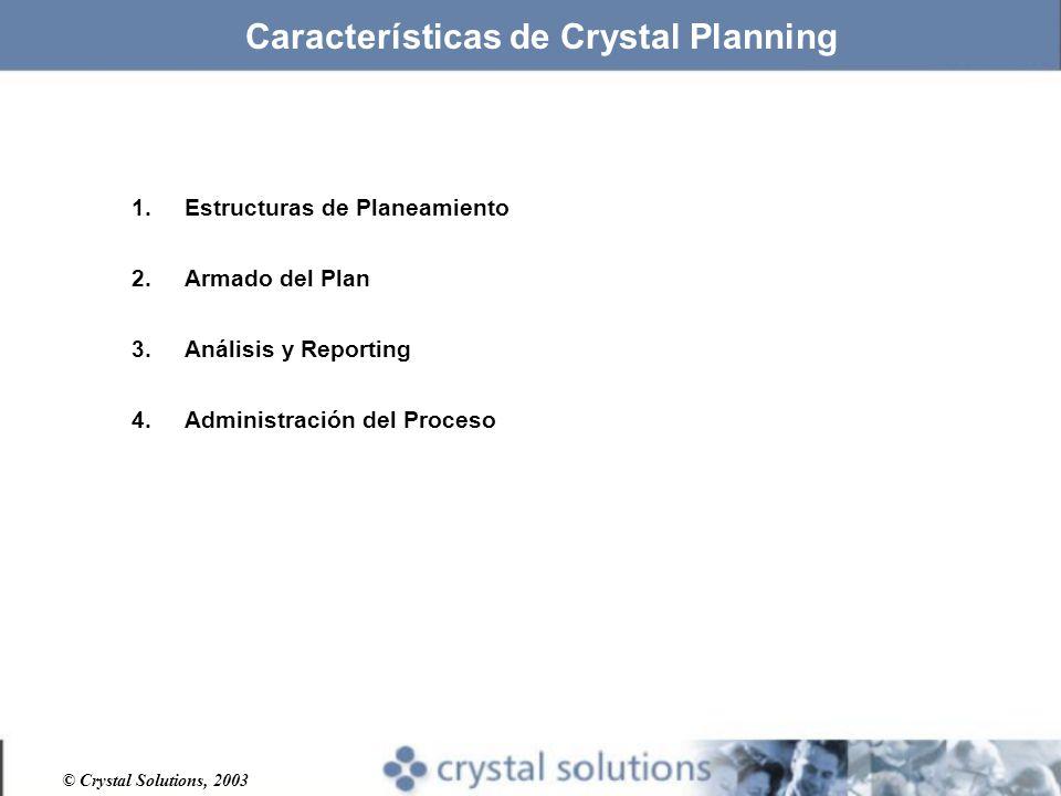 © Crystal Solutions, 2003 1.Estructuras de Planeamiento 2.Armado del Plan 3.Análisis y Reporting 4.Administración del Proceso Características de Crystal Planning