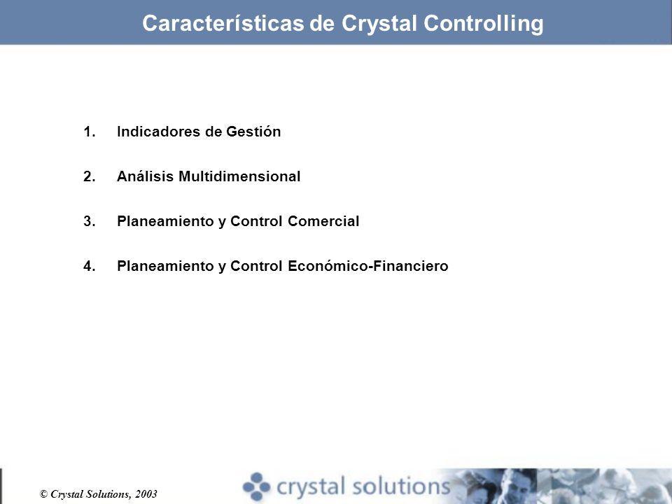 © Crystal Solutions, 2003 Características de Crystal Controlling 1.Indicadores de Gestión 2.Análisis Multidimensional 3.Planeamiento y Control Comercial 4.Planeamiento y Control Económico-Financiero