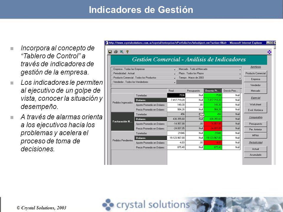 © Crystal Solutions, 2003 Indicadores de Gestión n Incorpora al concepto de Tablero de Control a través de indicadores de gestión de la empresa.