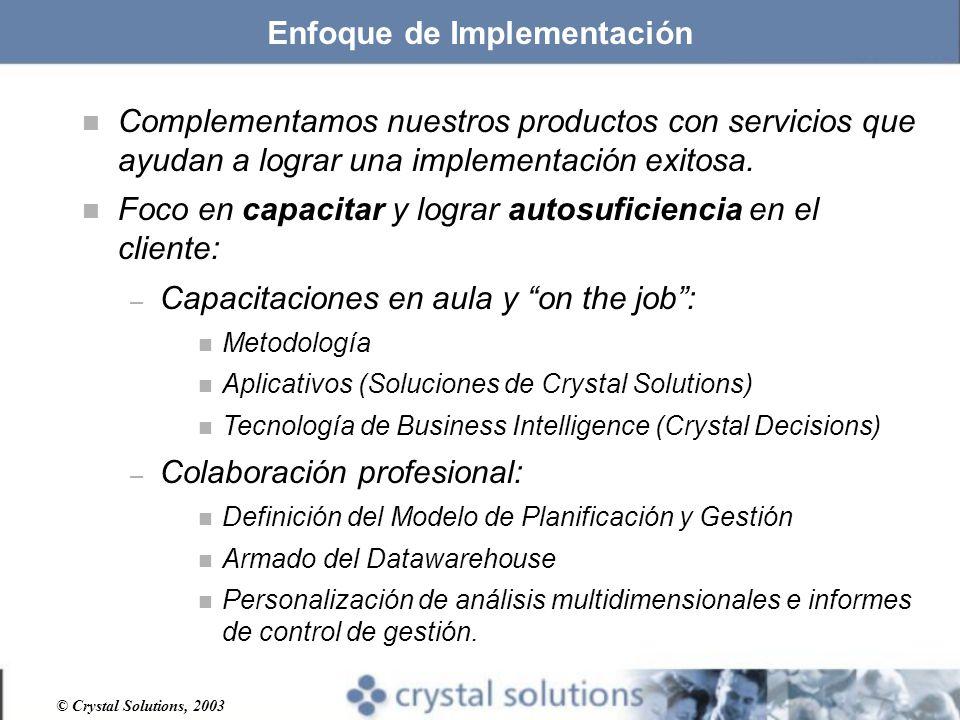 © Crystal Solutions, 2003 Enfoque de Implementación n Complementamos nuestros productos con servicios que ayudan a lograr una implementación exitosa.