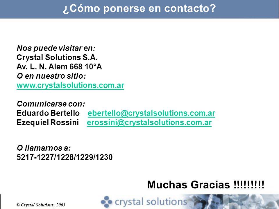 © Crystal Solutions, 2003 ¿Cómo ponerse en contacto.