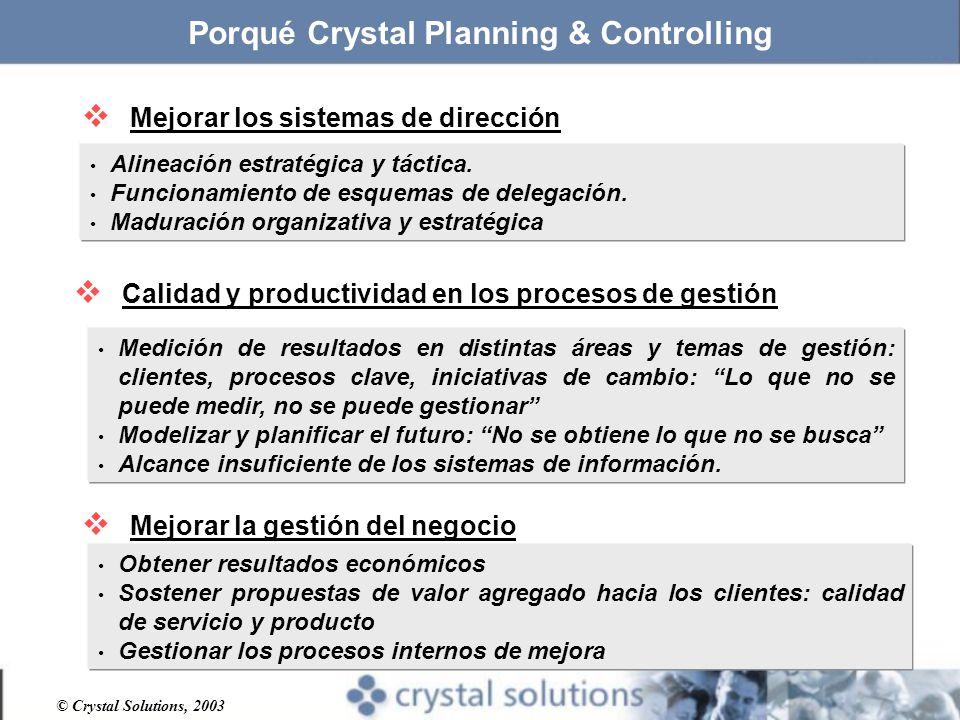 © Crystal Solutions, 2003 Porqué Crystal Planning & Controlling Mejorar los sistemas de dirección Alineación estratégica y táctica.