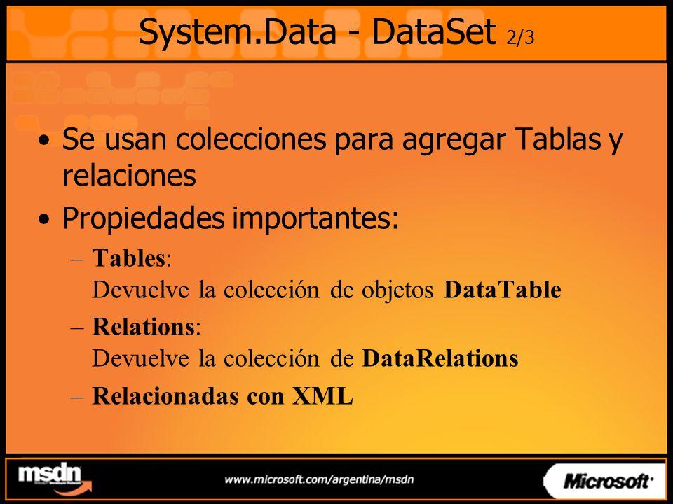 System.Data - DataSet 2/3 Se usan colecciones para agregar Tablas y relaciones Propiedades importantes: –Tables: Devuelve la colección de objetos DataTable –Relations: Devuelve la colección de DataRelations –Relacionadas con XML