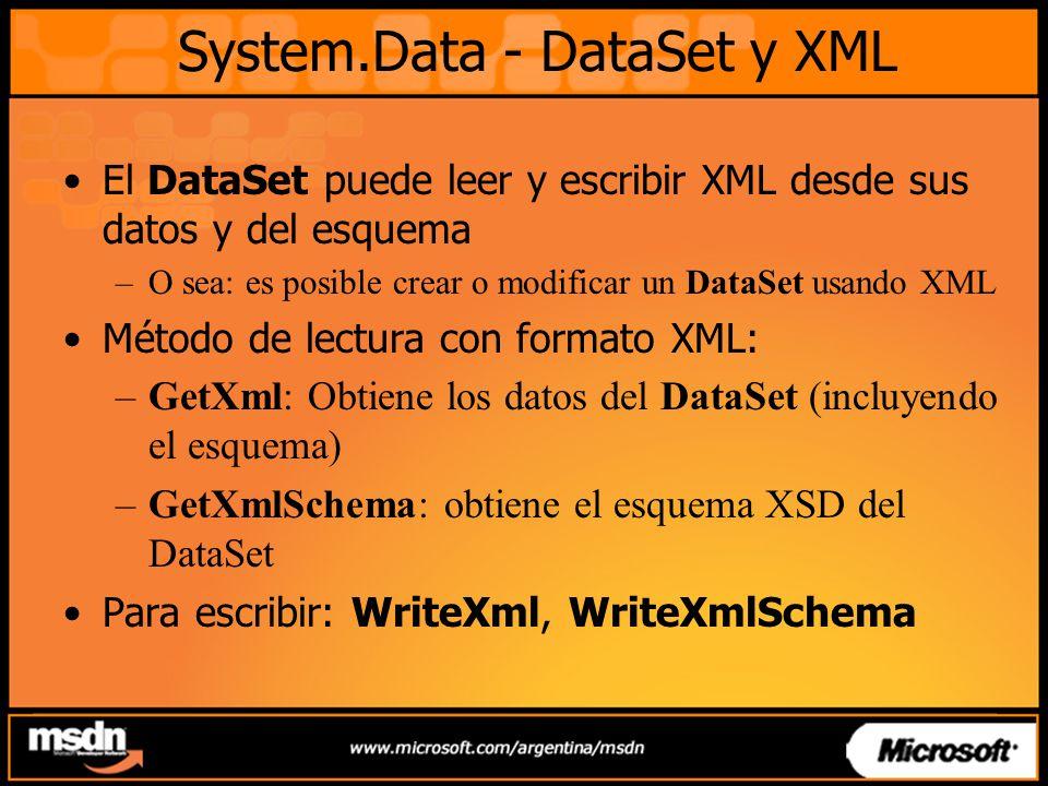 System.Data - DataSet y XML El DataSet puede leer y escribir XML desde sus datos y del esquema –O sea: es posible crear o modificar un DataSet usando XML Método de lectura con formato XML: –GetXml: Obtiene los datos del DataSet (incluyendo el esquema) –GetXmlSchema: obtiene el esquema XSD del DataSet Para escribir: WriteXml, WriteXmlSchema