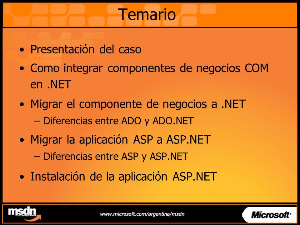Temario Presentación del caso Como integrar componentes de negocios COM en.NET Migrar el componente de negocios a.NET –Diferencias entre ADO y ADO.NET Migrar la aplicación ASP a ASP.NET –Diferencias entre ASP y ASP.NET Instalación de la aplicación ASP.NET