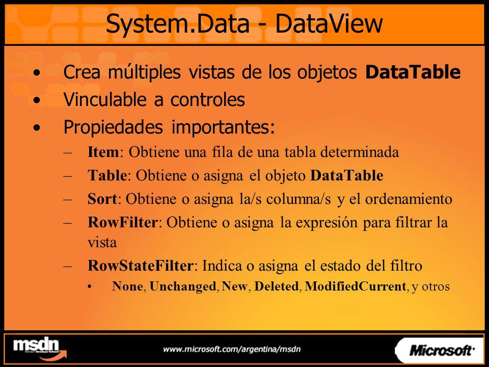 System.Data - DataView Crea múltiples vistas de los objetos DataTable Vinculable a controles Propiedades importantes: –Item: Obtiene una fila de una tabla determinada –Table: Obtiene o asigna el objeto DataTable –Sort: Obtiene o asigna la/s columna/s y el ordenamiento –RowFilter: Obtiene o asigna la expresión para filtrar la vista –RowStateFilter: Indica o asigna el estado del filtro None, Unchanged, New, Deleted, ModifiedCurrent, y otros