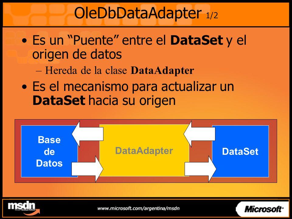 OleDbDataAdapter 1/2 Es un Puente entre el DataSet y el origen de datos –Hereda de la clase DataAdapter Es el mecanismo para actualizar un DataSet hacia su origen Base de Datos DataSet DataAdapter