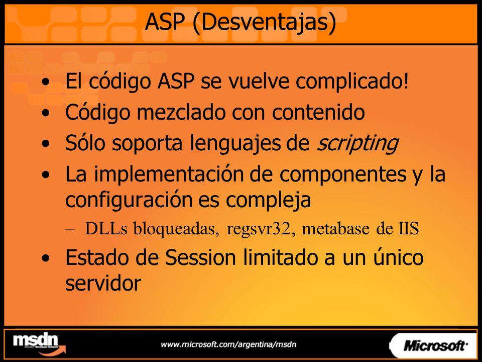 ASP (Desventajas) El código ASP se vuelve complicado.