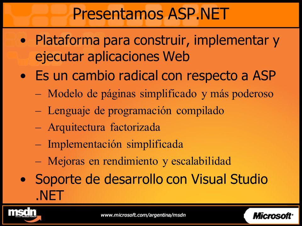 Presentamos ASP.NET Plataforma para construir, implementar y ejecutar aplicaciones Web Es un cambio radical con respecto a ASP –Modelo de páginas simplificado y más poderoso –Lenguaje de programación compilado –Arquitectura factorizada –Implementación simplificada –Mejoras en rendimiento y escalabilidad Soporte de desarrollo con Visual Studio.NET