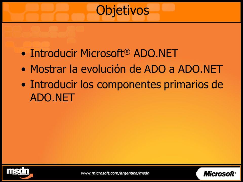 Objetivos Introducir Microsoft ® ADO.NET Mostrar la evolución de ADO a ADO.NET Introducir los componentes primarios de ADO.NET