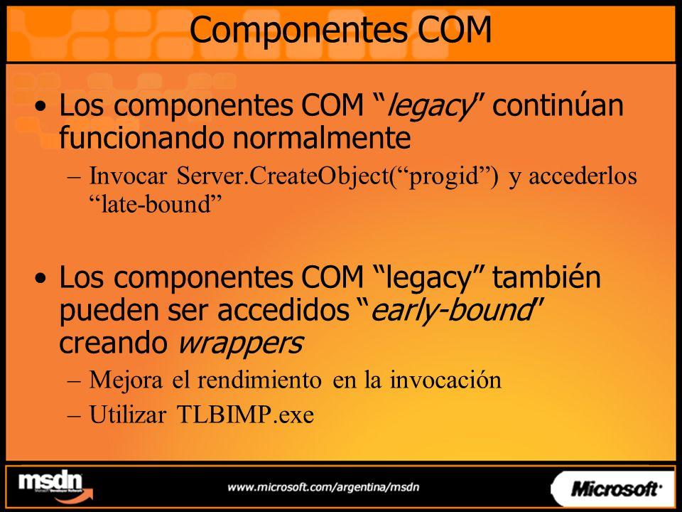 Componentes COM Los componentes COM legacy continúan funcionando normalmente –Invocar Server.CreateObject(progid) y accederlos late-bound Los componentes COM legacy también pueden ser accedidos early-bound creando wrappers –Mejora el rendimiento en la invocación –Utilizar TLBIMP.exe