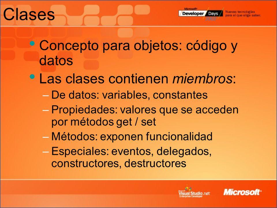 Clases Concepto para objetos: código y datos Las clases contienen miembros: –De datos: variables, constantes –Propiedades: valores que se acceden por métodos get / set –Métodos: exponen funcionalidad –Especiales: eventos, delegados, constructores, destructores