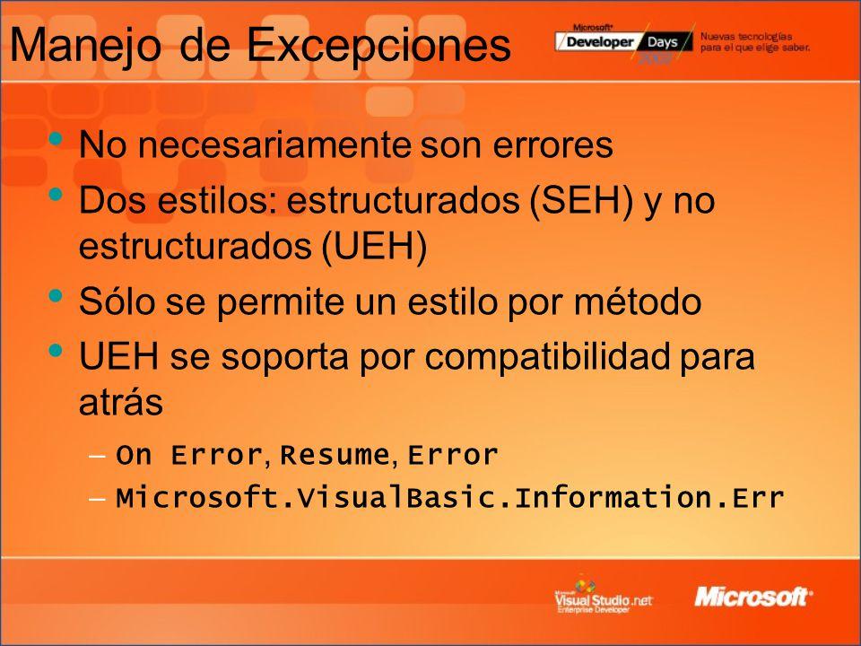 Manejo de Excepciones No necesariamente son errores Dos estilos: estructurados (SEH) y no estructurados (UEH) Sólo se permite un estilo por método UEH se soporta por compatibilidad para atrás – On Error, Resume, Error – Microsoft.VisualBasic.Information.Err