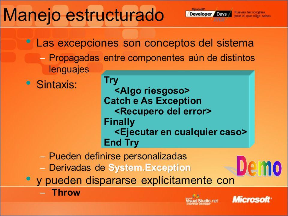 Manejo estructurado Las excepciones son conceptos del sistema –Propagadas entre componentes aún de distintos lenguajes Sintaxis: Try Catch e As Exception Finally End Try