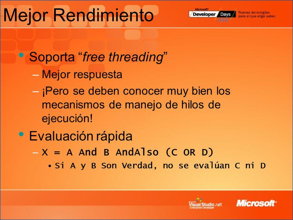 Mejor Rendimiento Soporta free threading –Mejor respuesta –¡Pero se deben conocer muy bien los mecanismos de manejo de hilos de ejecución.