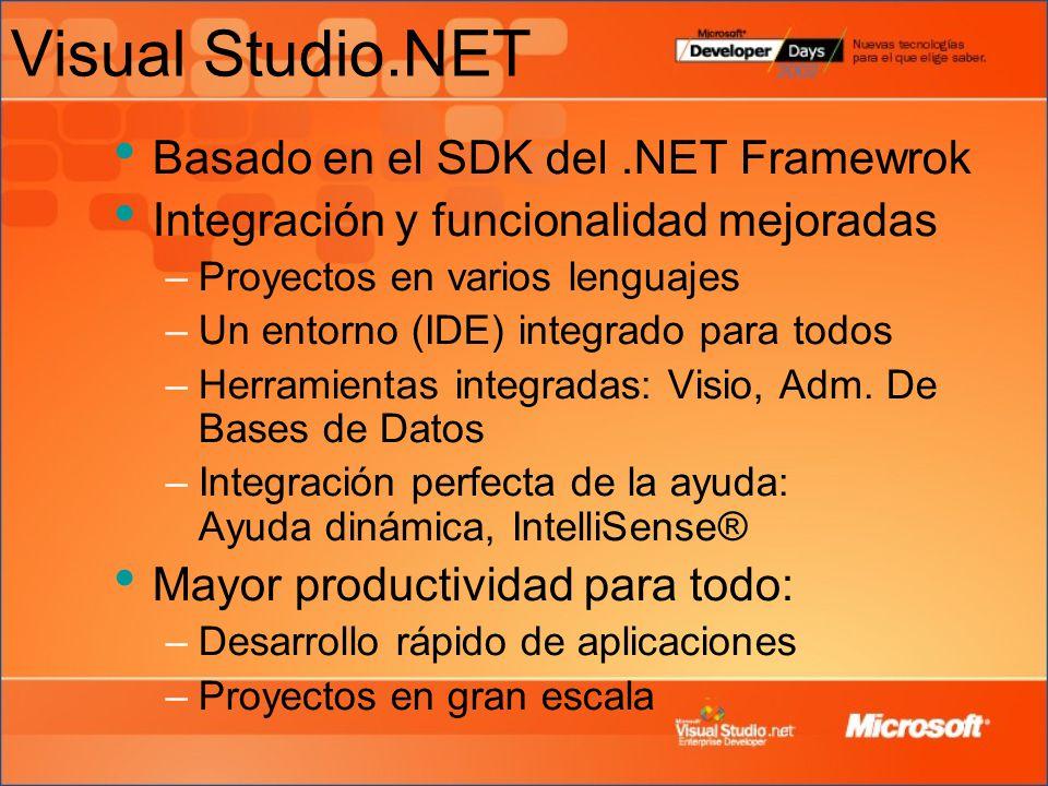 Visual Studio.NET Basado en el SDK del.NET Framewrok Integración y funcionalidad mejoradas –Proyectos en varios lenguajes –Un entorno (IDE) integrado para todos –Herramientas integradas: Visio, Adm.