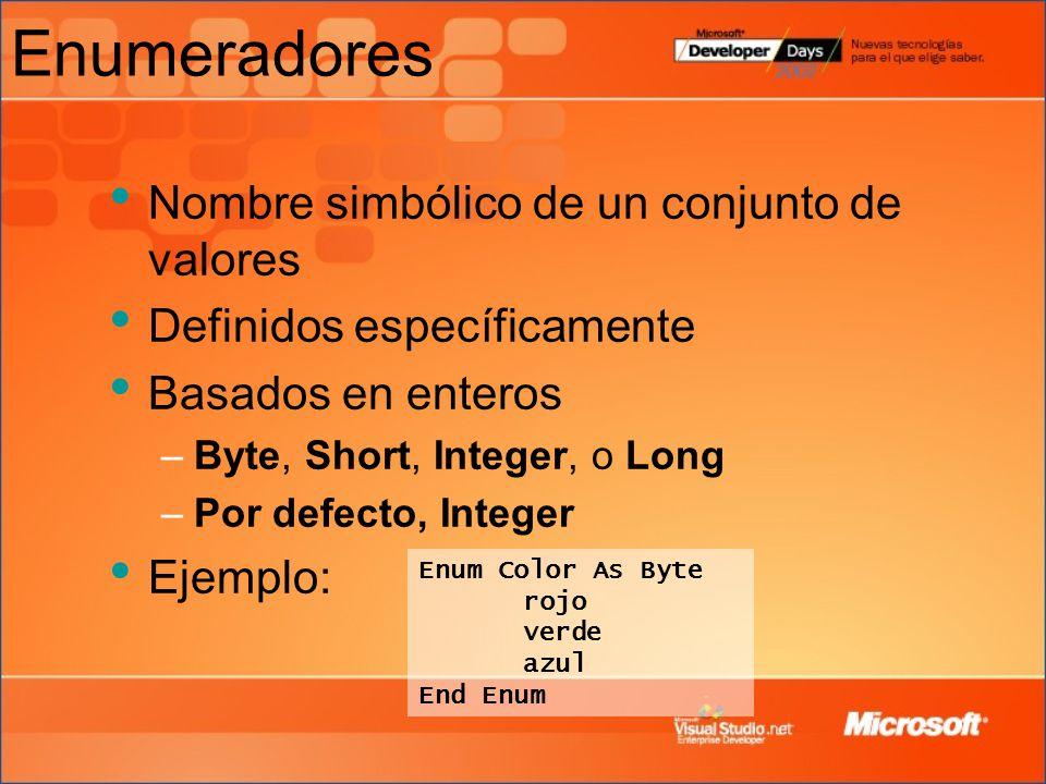 Enumeradores Nombre simbólico de un conjunto de valores Definidos específicamente Basados en enteros –Byte, Short, Integer, o Long –Por defecto, Integer Ejemplo: Enum Color As Byte rojo verde azul End Enum