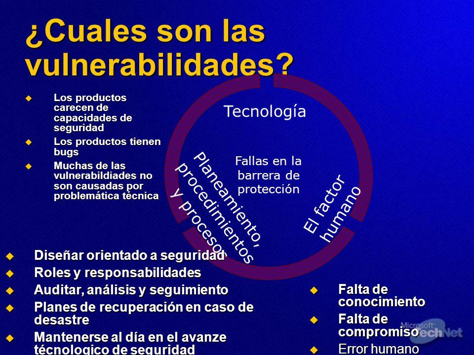 ¿Cuales son las vulnerabilidades? Tecnología Planeamiento, procedimientos y procesos El factor humano Los productos carecen de capacidades de segurida