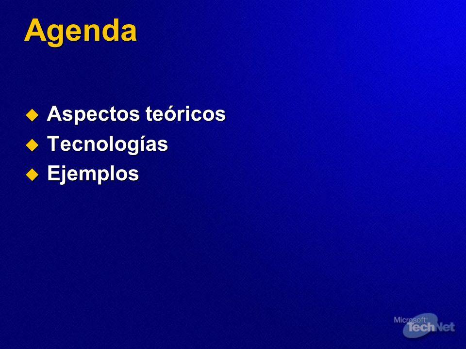 Agenda Aspectos teóricos Aspectos teóricos Tecnologías Tecnologías Ejemplos Ejemplos