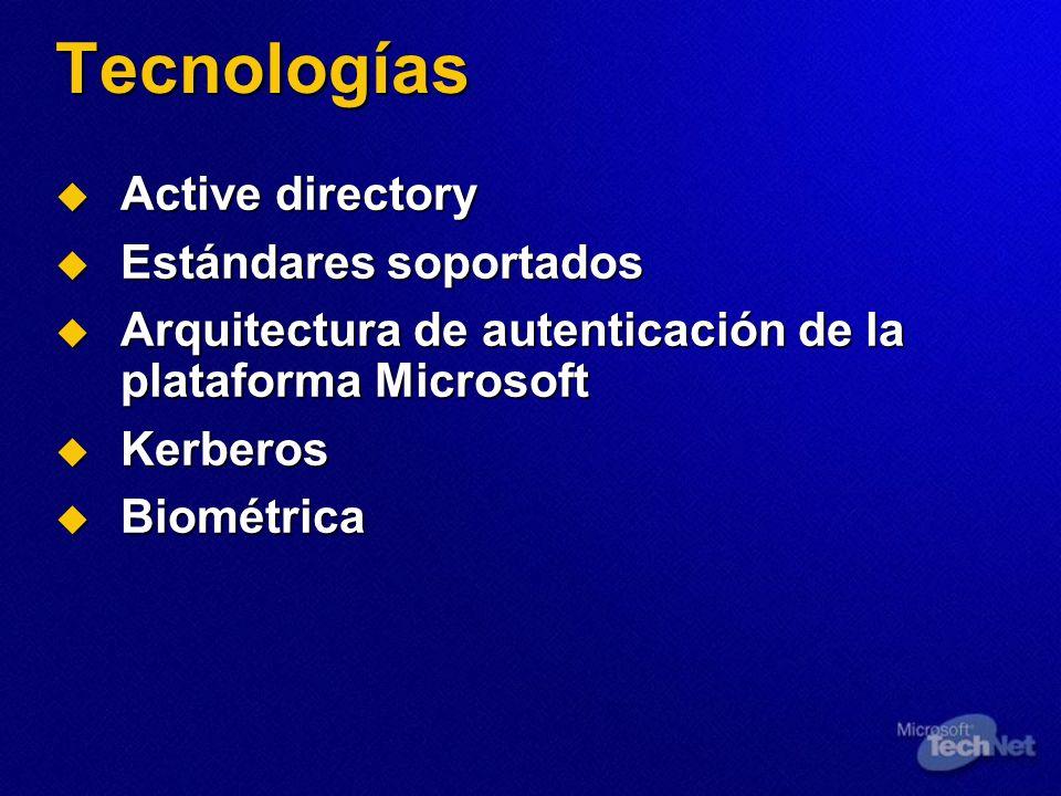 Tecnologías Active directory Active directory Estándares soportados Estándares soportados Arquitectura de autenticación de la plataforma Microsoft Arq