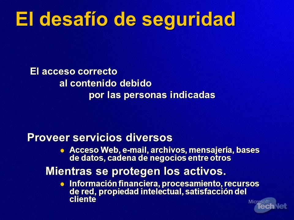 El desafío de seguridad Proveer servicios diversos Acceso Web, e-mail, archivos, mensajería, bases de datos, cadena de negocios entre otros Acceso Web
