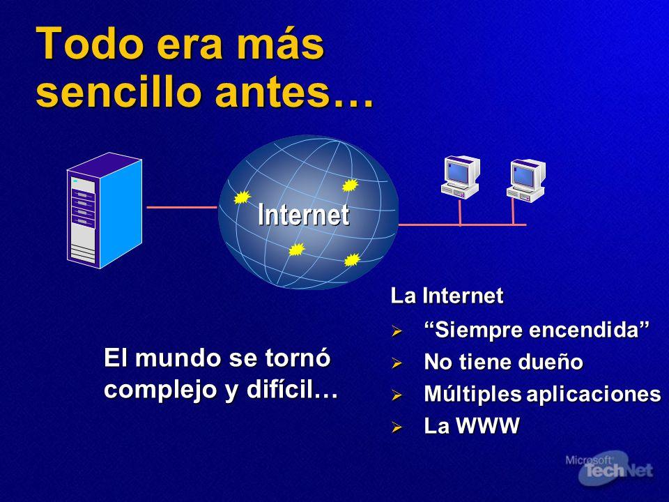 Todo era más sencillo antes… El mundo se tornó complejo y difícil… La Internet Siempre encendida Siempre encendida No tiene dueño No tiene dueño Múlti