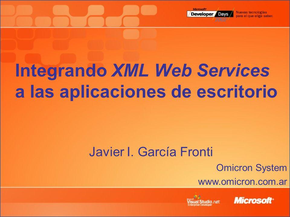 Integrando XML Web Services a las aplicaciones de escritorio Javier I.