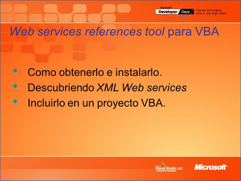 Web services references tool para VBA Como obtenerlo e instalarlo.