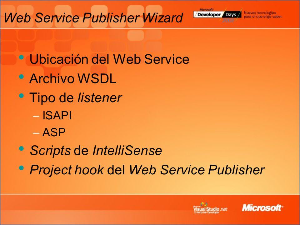 Web Service Publisher Wizard Ubicación del Web Service Archivo WSDL Tipo de listener –ISAPI –ASP Scripts de IntelliSense Project hook del Web Service