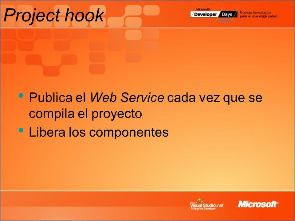 Project hook Publica el Web Service cada vez que se compila el proyecto Libera los componentes