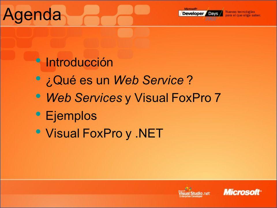 Agenda Introducción ¿Qué es un Web Service ? Web Services y Visual FoxPro 7 Ejemplos Visual FoxPro y.NET
