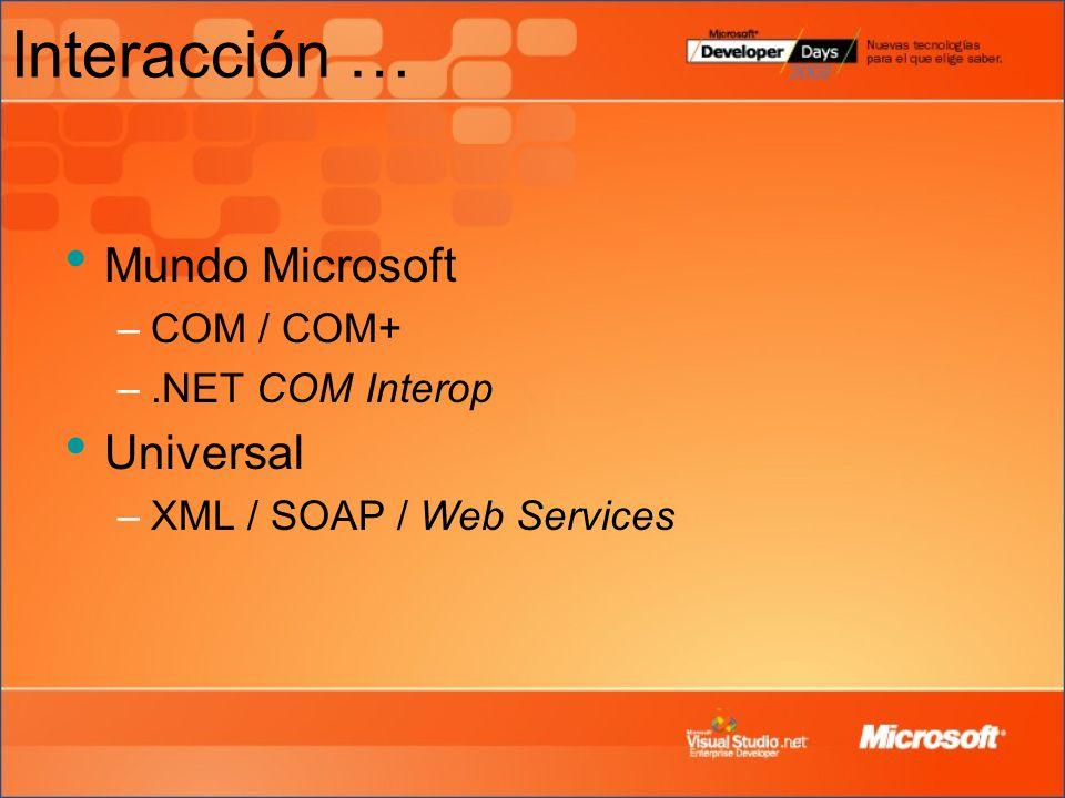 Interacción … Mundo Microsoft –COM / COM+ –.NET COM Interop Universal –XML / SOAP / Web Services