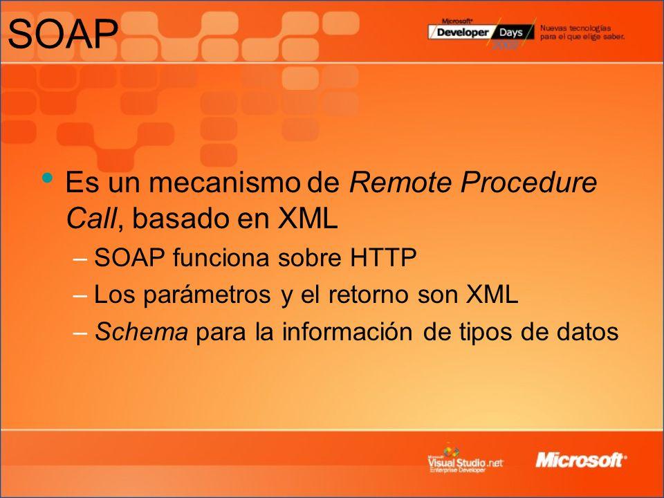 SOAP Es un mecanismo de Remote Procedure Call, basado en XML –SOAP funciona sobre HTTP –Los parámetros y el retorno son XML –Schema para la informació