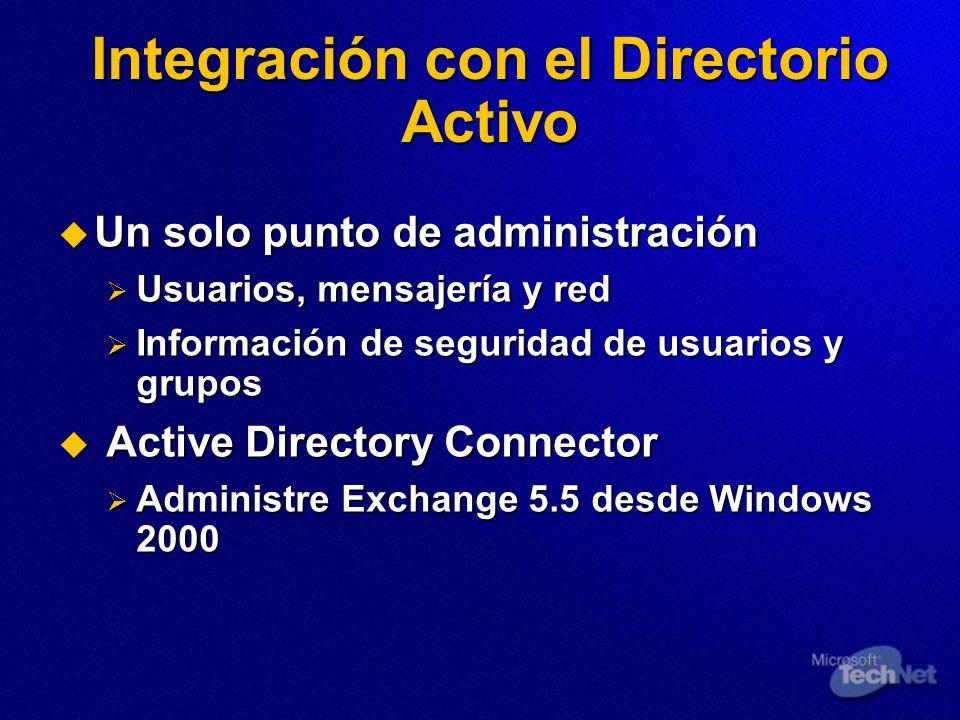 Integración con el Directorio Activo Un solo punto de administración Un solo punto de administración Usuarios, mensajería y red Usuarios, mensajería y