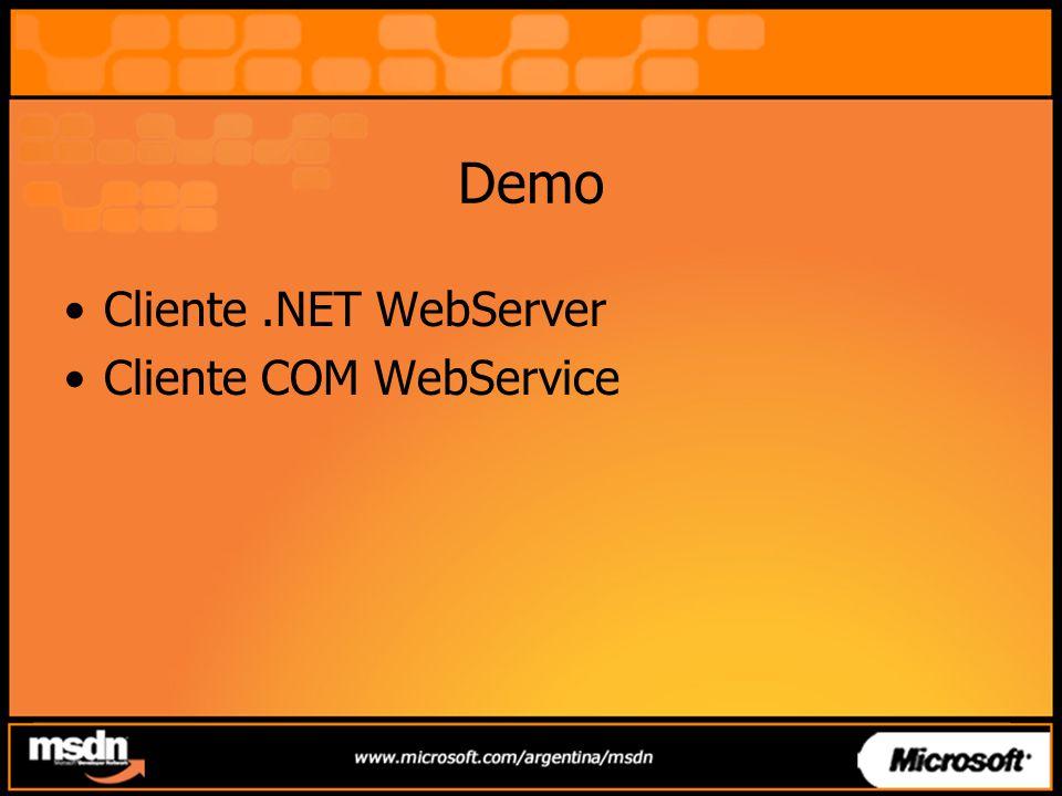 Demo Cliente.NET WebServer Cliente COM WebService