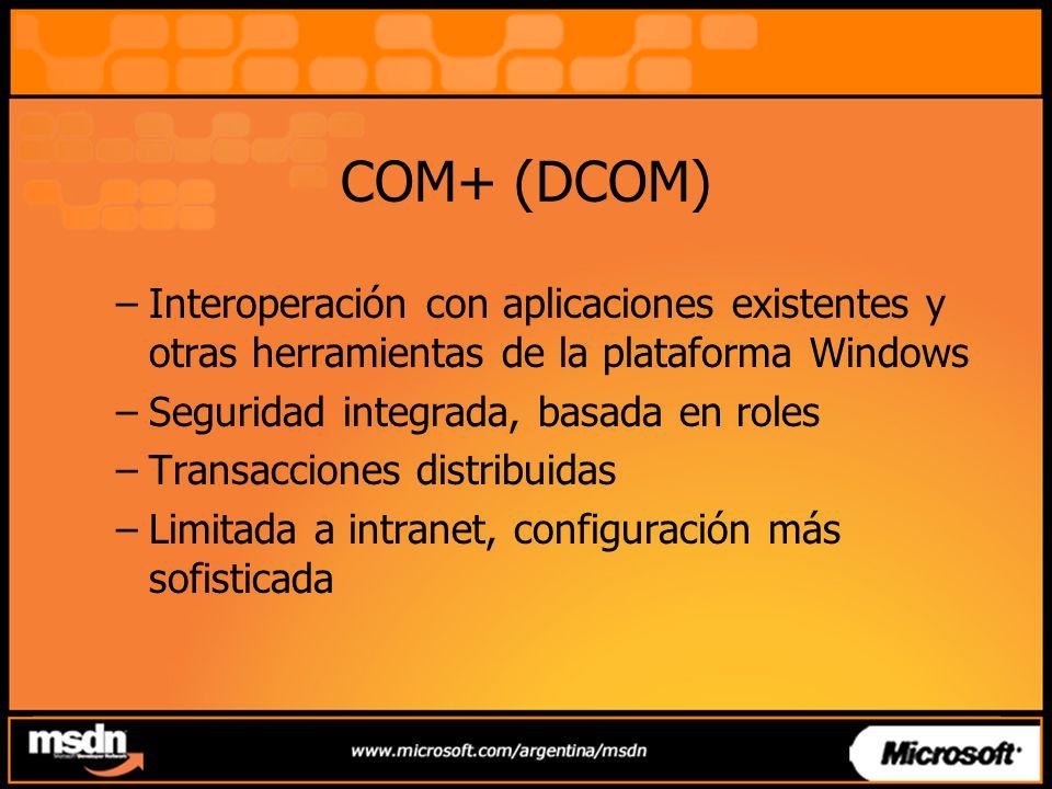 COM+ (DCOM) –Interoperación con aplicaciones existentes y otras herramientas de la plataforma Windows –Seguridad integrada, basada en roles –Transacci
