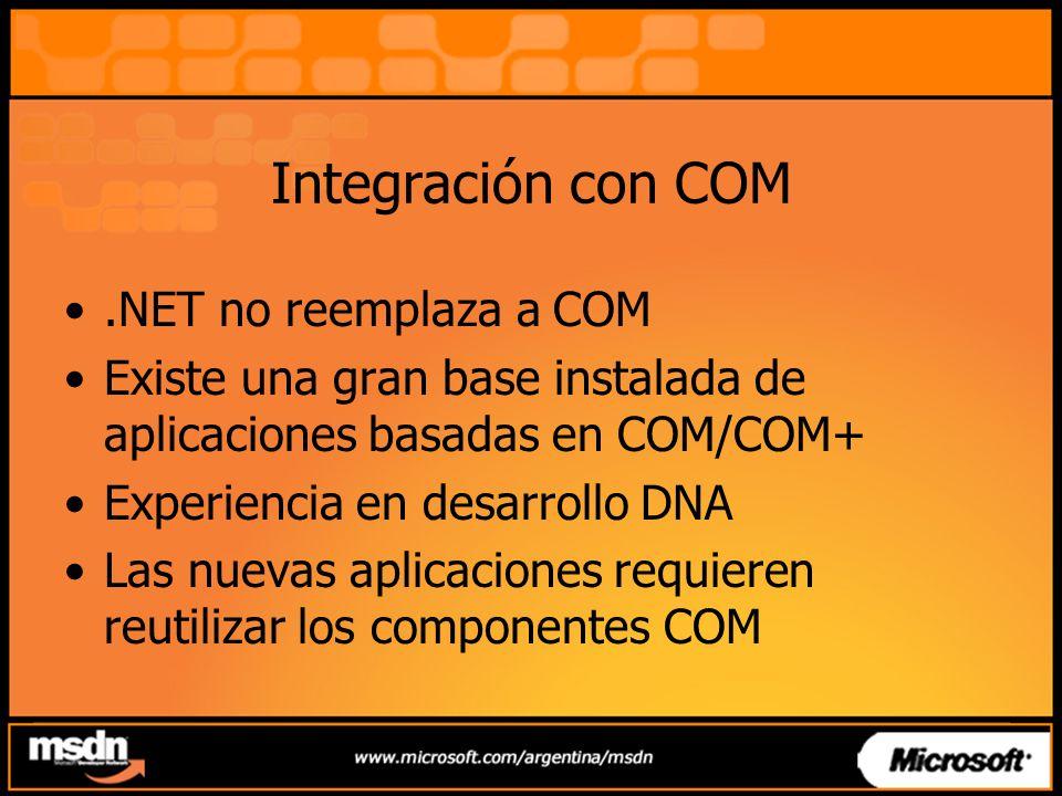 Integración con COM.NET no reemplaza a COM Existe una gran base instalada de aplicaciones basadas en COM/COM+ Experiencia en desarrollo DNA Las nuevas