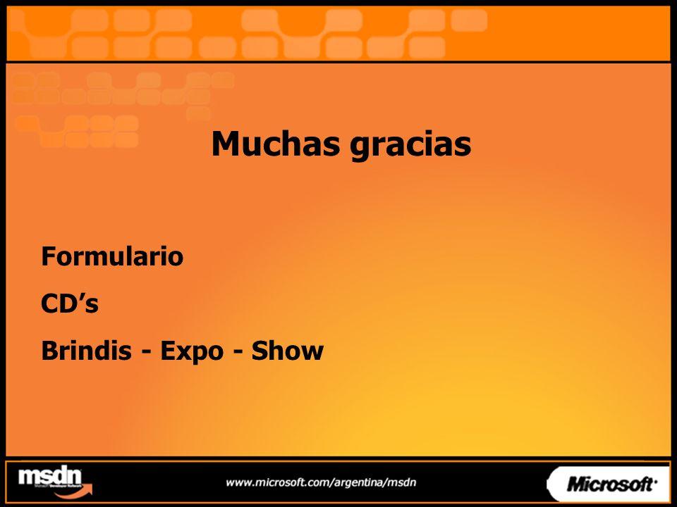 Muchas gracias Formulario CDs Brindis - Expo - Show