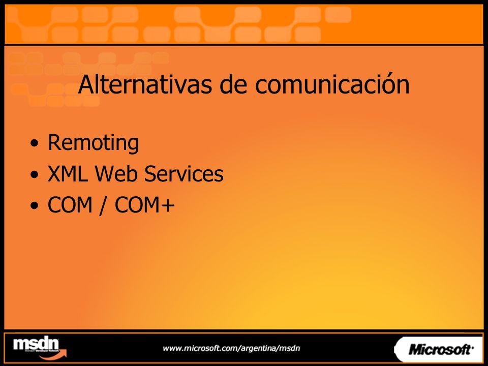 Agenda Parte I –Ubicación en tema –Alternativas de comunicación entre aplicaciones Parte II –Integración con aplicaciones COM –Seguridad en Remoting