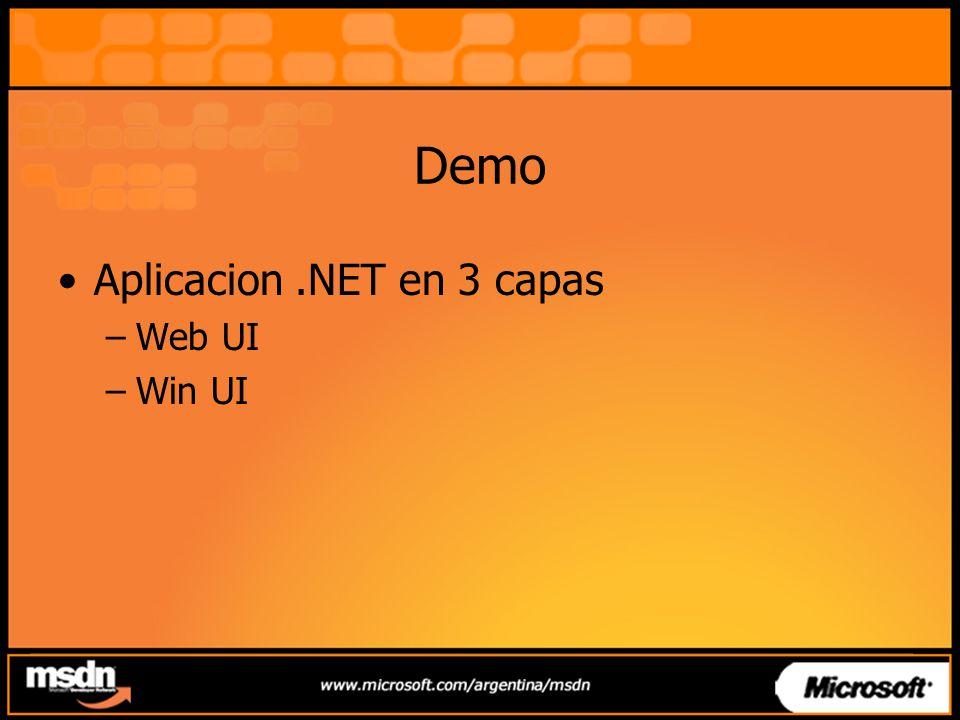 Demo Aplicacion.NET en 3 capas –Web UI –Win UI