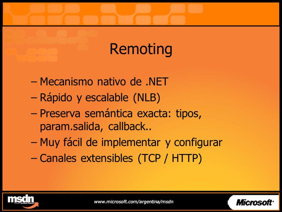 Remoting –Mecanismo nativo de.NET –Rápido y escalable (NLB) –Preserva semántica exacta: tipos, param.salida, callback.. –Muy fácil de implementar y co