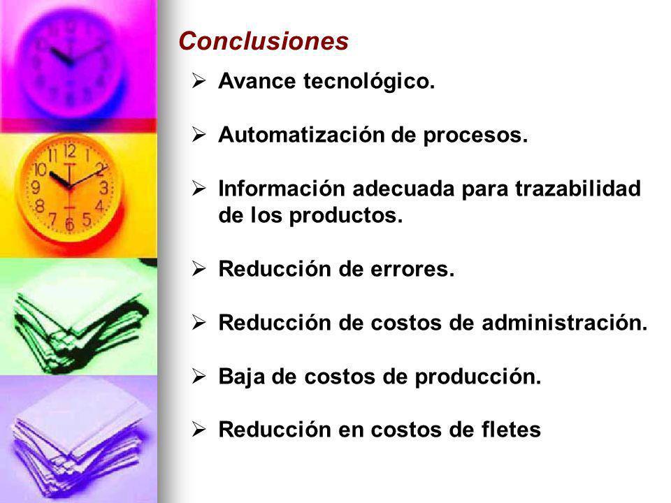 Avance tecnológico. Automatización de procesos. Información adecuada para trazabilidad de los productos. Reducción de errores. Reducción de costos de